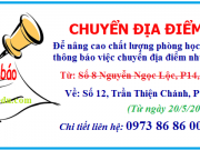 Thông báo chuyển địa điểm về số 12, Trần Thiện Chánh, P12, Q10, TPHCM