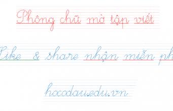phông chữ tập viết cho bé