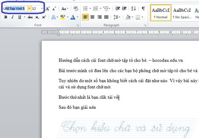 Hướng dẫn cách cài font chữ mờ tập tô cho bé 07